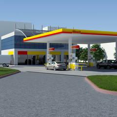 Dündar Design - 3D Mimari Görselleştirme – Akaryakıt İstasyonu:  tarz Dükkânlar