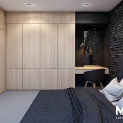 Sypialnia z łazienką na poddaszu: styl , w kategorii Sypialnia zaprojektowany przez MACZ Architektura - Architekt wnętrz Kraków