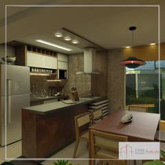 Estar- Jantar e Cozinha integrados: Armários e bancadas de cozinha  por Aúra Arqstudio