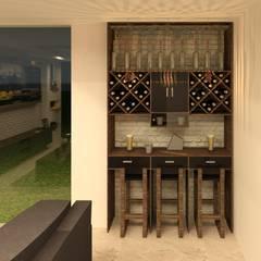 Bar- sala de TV: Salas multimedia de estilo  por Perfil Arquitectónico