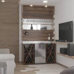 Area neutra, Opcion 2 (Cuarto T.V): Salas multimedia de estilo minimalista por ARQSU, Arquitectura e Interiorismo