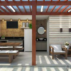 Área Gourmet - Casa EF: Terraços  por JAQUELINE SILVA ARQUITETURA E INTERIORES