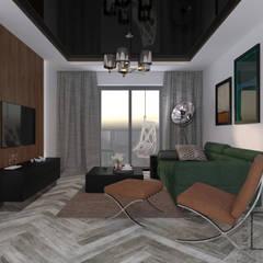 Secret Project - Apartament z widokiem na park a za nim morze: styl , w kategorii Salon zaprojektowany przez 4 kąty a stół 5 Pracownia Projektowa Ewelina Białobrzewska