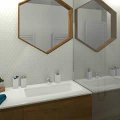 La salle d'eau du rez-de-chaussée: Salle de bains de style  par MJ Intérieurs