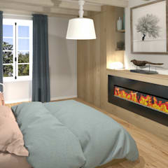 Home-staging d'une maison charentaise: Chambre de style  par MJ Intérieurs