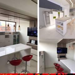 Cocinas equipadas de estilo  por HZ ARQUITECTOS SANTIAGO DISEÑO COCINAS JARDINES PAISAJISMO REMODELACIONES OBRA, Minimalista Compuestos de madera y plástico