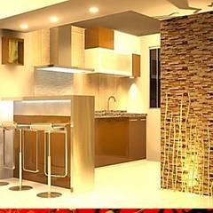 Built-in kitchens by HZ ARQUITECTOS SANTIAGO DISEÑO COCINAS JARDINES PAISAJISMO REMODELACIONES OBRA, Mediterranean Stone