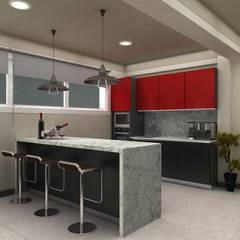 DISEÑO INTERIOR: Cocinas equipadas de estilo  por HZ ARQUITECTOS