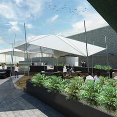 Terraza de trabajo: Salones para eventos de estilo  por BIM Arquitectos S.A. de C.V.