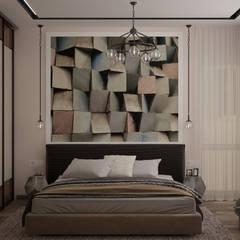 Дизайн спальни в квартире в стиле постмодернизм по ул. Селезнева, г.Краснодар: Спальни в . Автор – Студия интерьерного дизайна happy.design