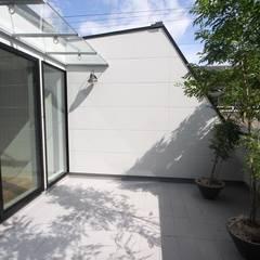 天神橋の家 / 大阪市 屋上テラスのある都市型3階建て住宅: 一級建築士事務所 Coo Planningが手掛けたテラス・ベランダです。