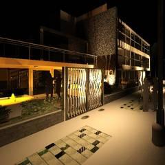 Intervención en exteriores de Edificio España: Condominios de estilo  por ESTUDIO KULUMAK