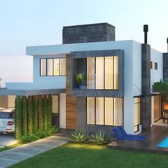 Fachada Residência TP: Casas familiares  por Rau Duarte Arquitetura