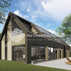 Modern in staal opgetrokken schuurwoning: moderne Huizen door Architectenbureau The Citadel Company