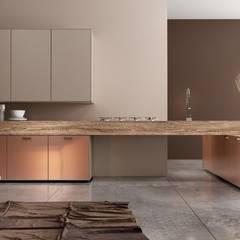 RAUVISIO brilliant mat - kolor Cappuccino: styl , w kategorii Aneks kuchenny zaprojektowany przez REHAU Polska