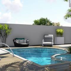 Hidromassagem e Piscina: Piscinas de jardim  por Trivisio Consultoria e Projetos em 3D