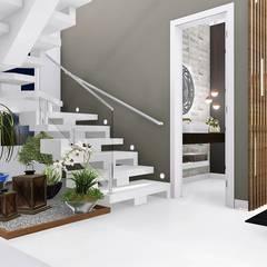 Residência em Indaiatuba: Escadas  por Trivisio Consultoria e Projetos em 3D