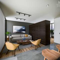 AM Departamentos: Salas de estilo  por Villalba Palau Arquitectos,