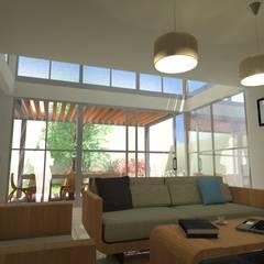 Casa VA: Salas de estilo  por QUIRSA arquitectos, Mediterráneo