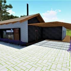 Fachada frontal: Casas do campo e fazendas  por Studio²