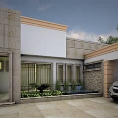 Jardín y Fuente: Jardines en la fachada de estilo  por Osuna Arquitecto