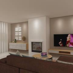Apartamento São Félix da Marinha: Salas de estar  por Angelourenzzo - Interior Design