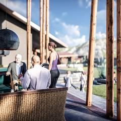 Restaurant Yucay: Restaurantes de estilo  por FRANCO CACERES / Arquitectos & Asociados, Rústico