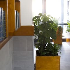 Boekenkast en plantenbakken:  Gang en hal door studioMERZ