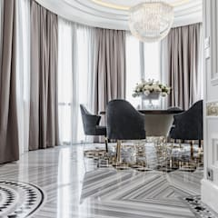 A combination of tradition and modernity in the interior of villa in Monaco.: Sala da pranzo in stile in stile Classico di NG-STUDIO Interior Design