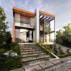 FACHADA PRINCIPAL RESIDENCIA EL CIELO: Casas de estilo industrial por PROYECTA_