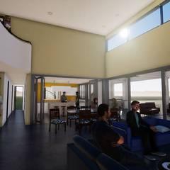 CASA COLINA_ Huechuraba _ Casa Neoclásica: Livings de estilo  por BIM Urbano