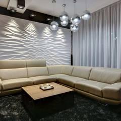 3d Wandbild aus Gips Modell Illusion:  Wohnzimmer von Loft Design System Deutschland