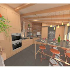 Création d'un atelier culinaire de 20m² - St Maurice de Gourdan: Locaux commerciaux & Magasins de style  par 1.61 design