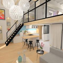 Rénovation d'un appartement canut - Lyon: Salon de style de style Moderne par 1.61 design