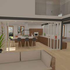 Home staging virtuelle pour la vente d'une maison - Pélussin: Cuisine de style  par 1.61 design