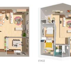 Home staging virtuelle pour la vente d'une maison - Pélussin: Maisons de style de style Moderne par 1.61 design