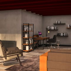 Atölye Teta – NK Evi Home Office Konsept Proje: endüstriyel tarz tarz Oturma Odası