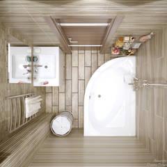 """Дизайн санузлов в квартире в ЖК """"7 континент"""", г.Краснодар: Ванные комнаты в . Автор – Студия интерьерного дизайна happy.design"""