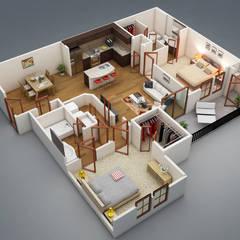 Modelo 1 de projeto em Revit: Casas familiares  por TECHNOCAD PROJETOS