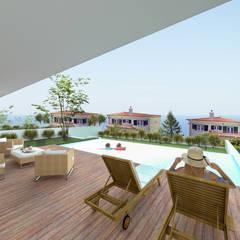 Ocean Villas | Living Concept at Ribamar | Ericeira: Piscinas infinitas  por DR Arquitectos