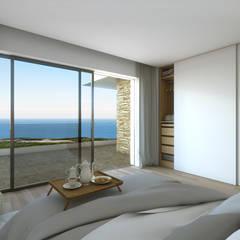 Ocean Villas | Living Concept at Ribamar | Ericeira: Quartos  por DR Arquitectos