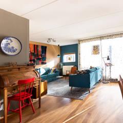 Interieurplan voor een zithoek in Oegstgeest:  Woonkamer door Regina Dijkstra Design