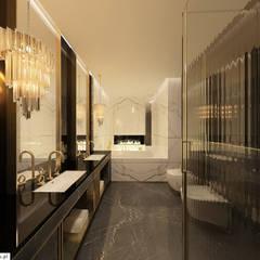 PROJEKT WNĘTRZ APARTAMENTU W WARSZAWIE: styl nowoczesne, w kategorii Spa zaprojektowany przez TISSU Architecture