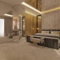 PROJEKT WNĘTRZ APARTAMENTU W WARSZAWIE - TISSU: styl , w kategorii Sypialnia zaprojektowany przez TISSU Architecture