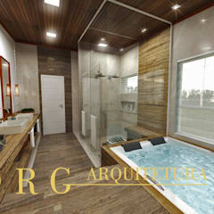 Sala de banho: Banheiros rústicos por DRG ARQUITETURA