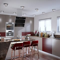 Burgundy Gloss Kitchen:  Built-in kitchens by Linken Designs