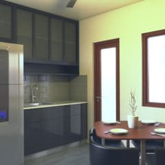 Two Storey Duplex Apartment at Las Pinas:  Kitchen units by MG Architecture Design Studio,