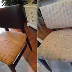 누구나 할 수 있는 칙칙한 가죽 식탁 의자 리폼하기: 더디자인 the dsgn의  거실