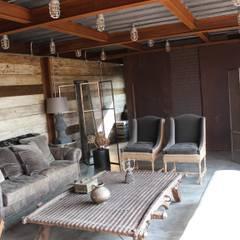RANCHO LA NOPALERA: Salas de estilo rústico por Tema Arquitectos