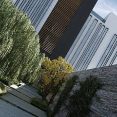 Ingreso principal: Jardines en la fachada de estilo  por Stuen Arquitectos